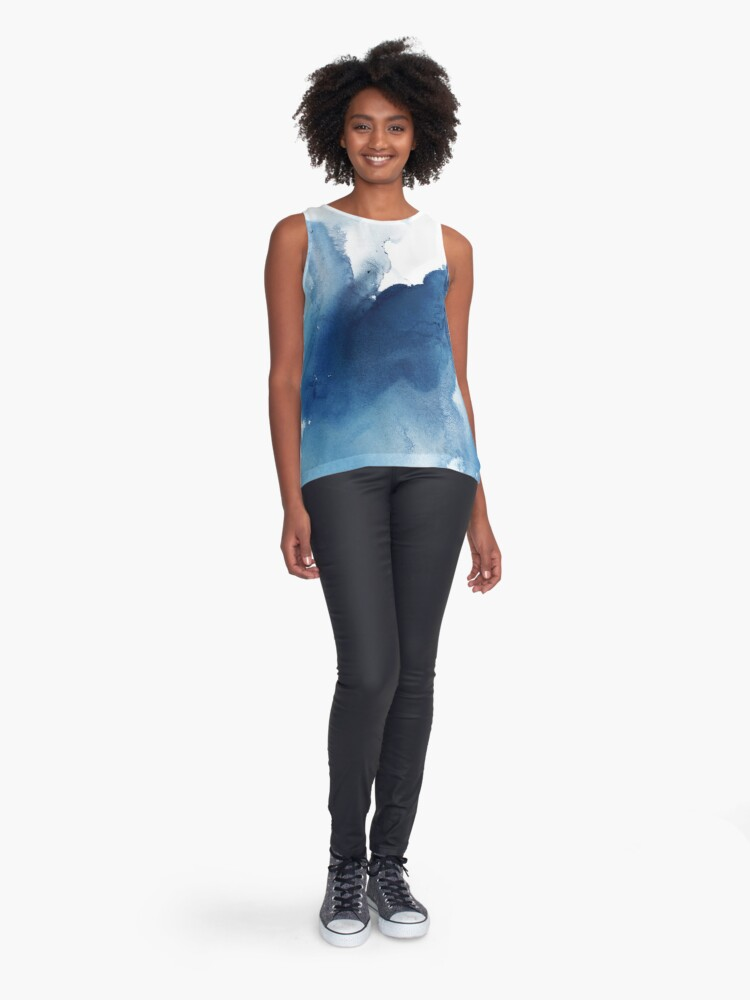 Alternate view of Indigo Blue Sea, Abstract Ink Painting Sleeveless Top