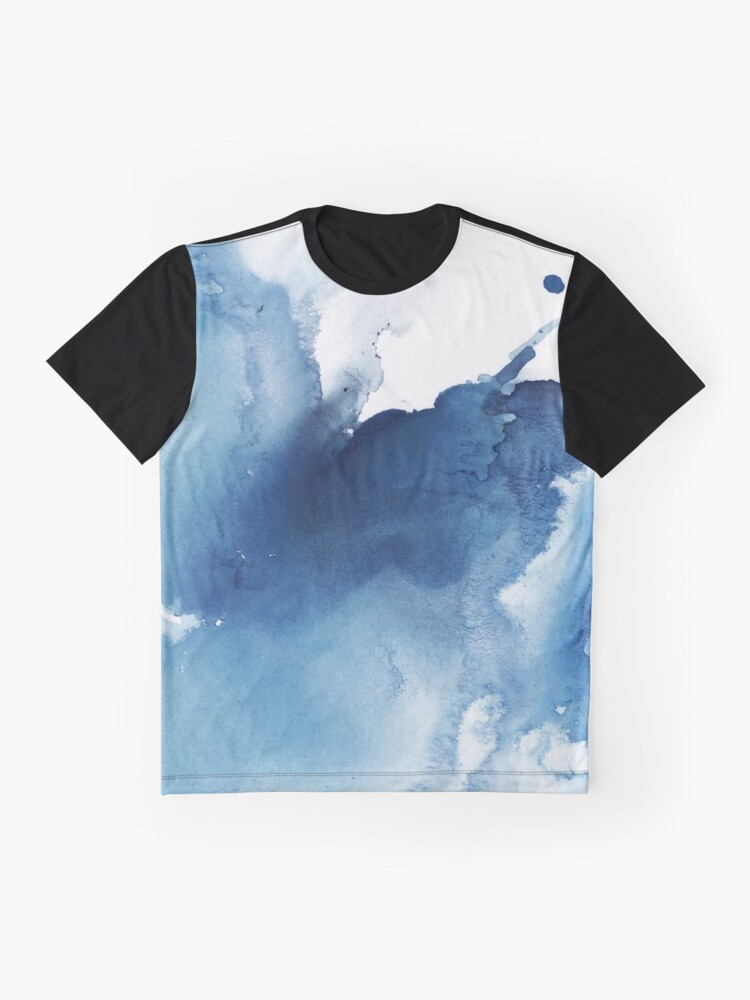 Alternate view of Indigo Blue Sea, Abstract Ink Painting Graphic T-Shirt