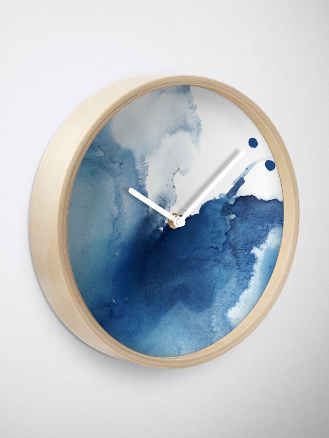 Alternate view of Indigo Blue Sea, Abstract Ink Painting Clock