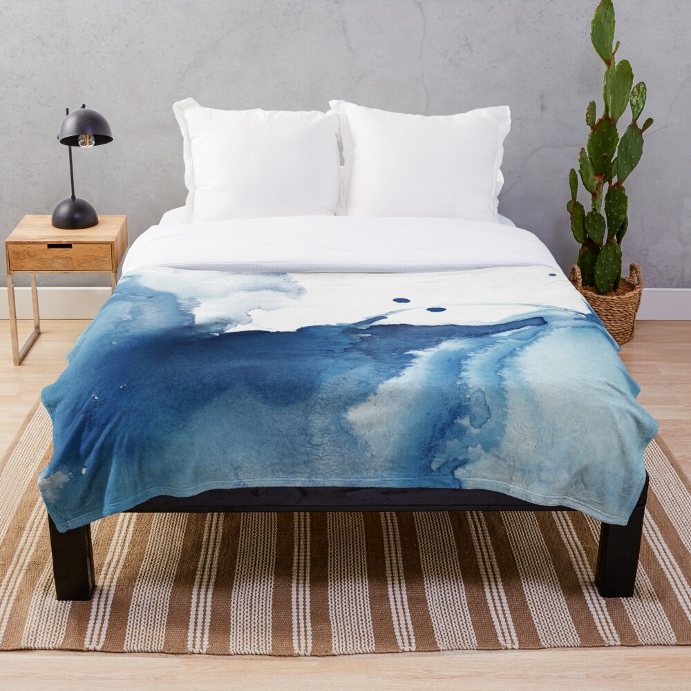 Indigo Blue Sea, Abstract Ink Painting Throw Blanket