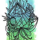 Minty Green Blocks with a Runcible Mandala by TakoraTakora