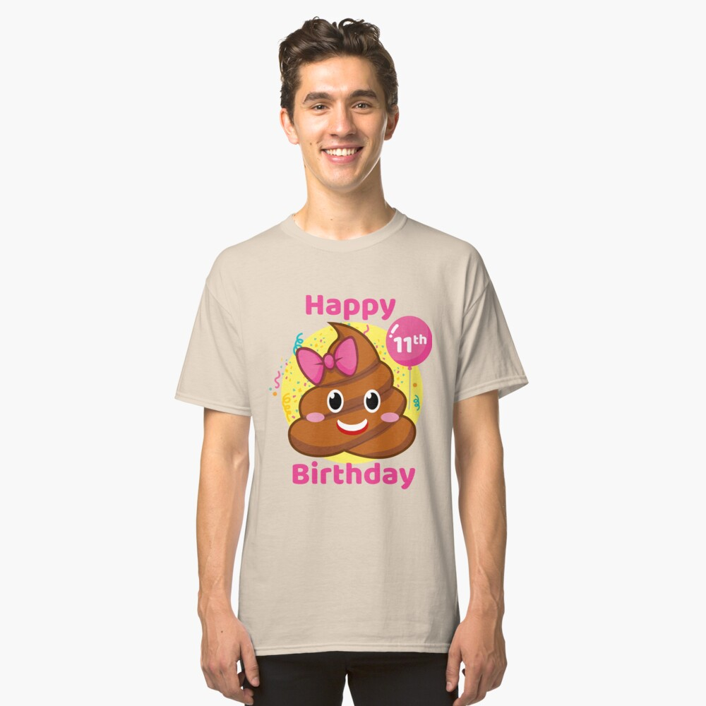 11th Birthday Girl - Pink Bow Poop Emoji Classic T-Shirt Front