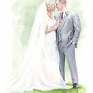 just married watercolor by Mike Theuer