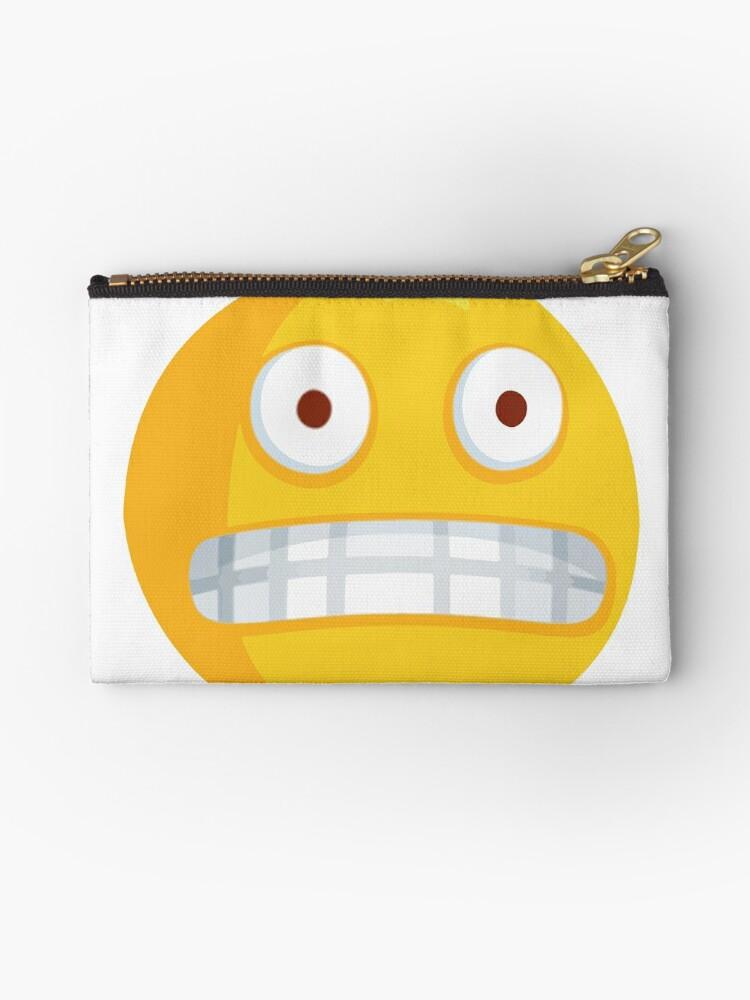 'Grimacing Nervous Emoji' Zipper Pouch by gregGgggg