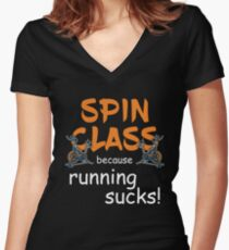 Spin Class Tank T-Shirt Shirt, Tank For Women For Gym Spin Class Exercise Fitness, Cycling Tank, Running Sucks Women's Workout Tank Women's Fitted V-Neck T-Shirt