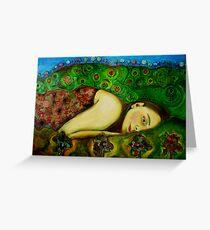 Girl in a Hundertwasser Landscape Greeting Card