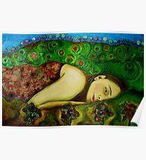 Girl in a Hundertwasser Landscape Poster