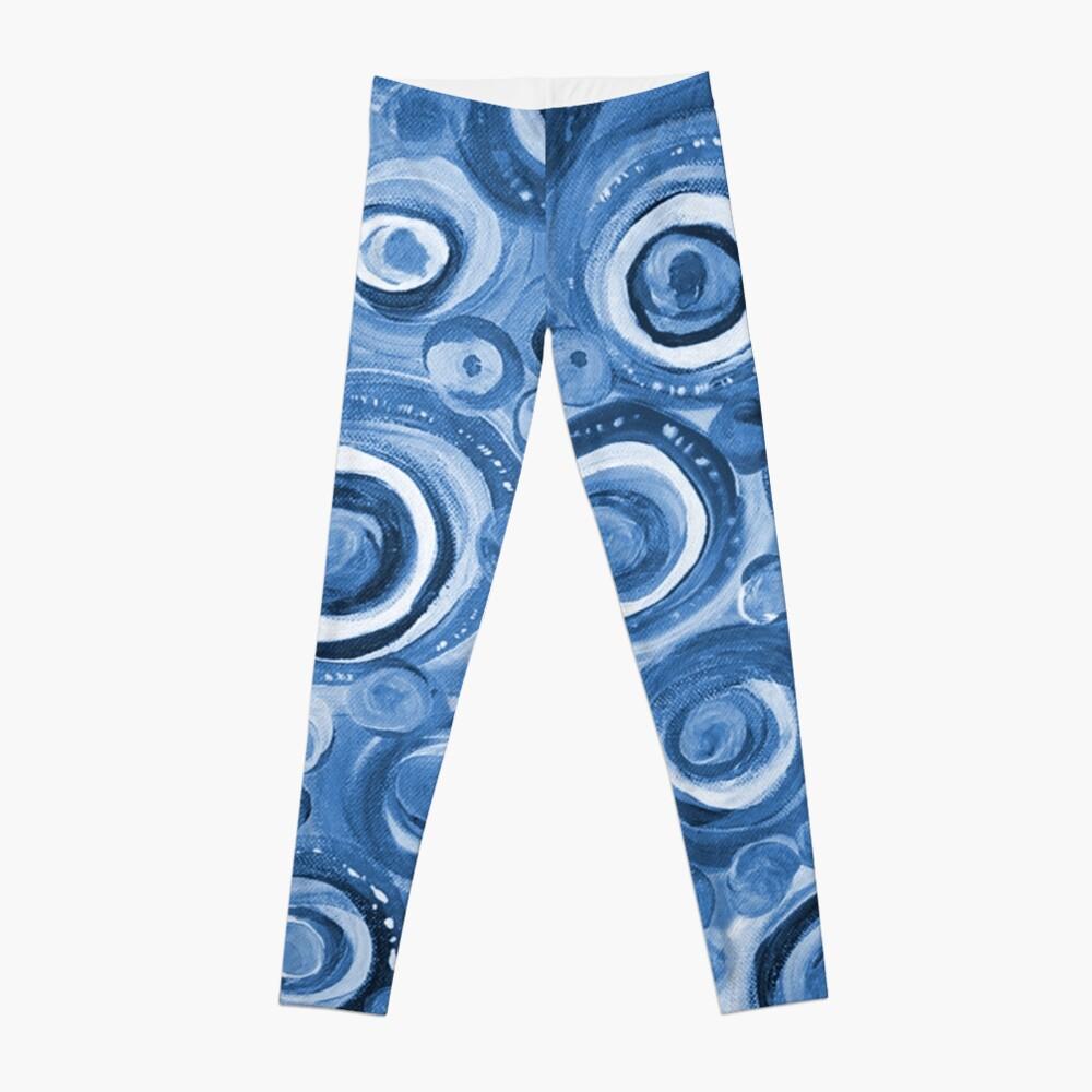 Kreise in Blau Leggings Vorne