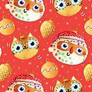 Santa Clause and cute Cat Christmas Ornaments by monikasuska