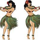 Four Hula Girls Hula Girl Dancing the Hula by Frank Schuster