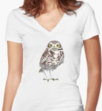 Burrowing Owl Women's Fitted V-Neck T-Shirt