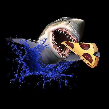 Pizza meets white shark shirt shark eats pizza tea funny gift idea by MrTStyle
