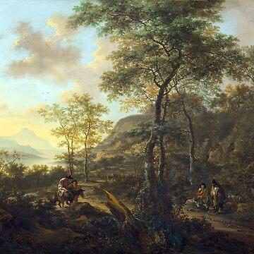 Jan Dirksz Both An Italianate Evening Landscape by pdgraphics