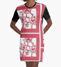 Red Cells Paper Cut Graphic T-Shirt Dress