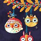 Christmas tree ornaments - Santa, Cute Cat and Crazy Guy by monikasuska