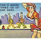 Funny Vintage Comic Postcard Risque Woman Illustration Retro by vintagegoodness