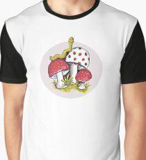 Vintage Magic Mushrooms w/ Worm Retro Design Graphic T-Shirt