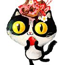Sweet black and white cat with donuts and strawberries  by colonelle