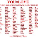 YOU=LOVE COALITION FOR GREATER PEACE AND EQUAL RIGHTS by youequallove
