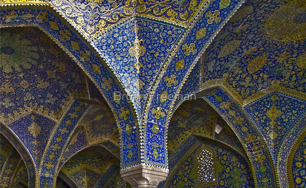 Inside Imam Mosque - Isfahan - Iran by Bryan Freeman
