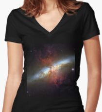 Starburst Galaxy Messier 82 Women's Fitted V-Neck T-Shirt