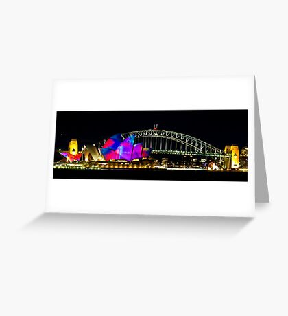 Sydney Opera House & Harbour Bridge - Vivid Festival Greeting Card