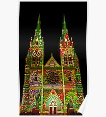 St Marys Cathedral (Gardens) - Vivid Festival - Sydney - Australia Poster