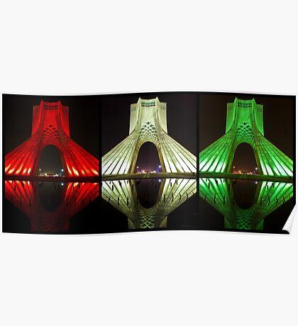 Azadi Tower (Triptych Reflection) -Tehran - Iran Poster