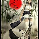Oriental Girl With Her Panda's by Lisa  Weber