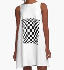 #black, #white, #chess, #checkered, #pattern, #flag, #board, #abstract, #chessboard, #checker, #square A-Line Dress