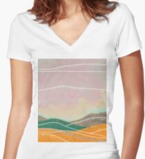 Dreamy Hills I Women's Fitted V-Neck T-Shirt