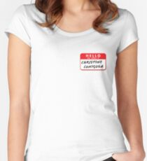 Hello My Name Is Christine Canigula. Fun nametag label design for Be More Chill Fans Women's Fitted Scoop T-Shirt