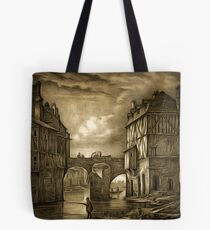 My old style digital painting of Tannery Bridge, Angers, France 1843 Tote Bag