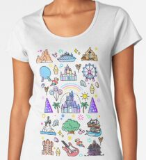 Happiest Place on Earth Collection. It's a Small World, Haunted Mansion, Princess Castle, Manatee, Ferris Wheel Theme Park. Women's Premium T-Shirt