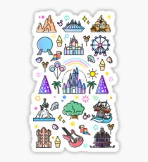 Happiest Place on Earth Collection. It's a Small World, Haunted Mansion, Princess Castle, Manatee, Ferris Wheel Theme Park. Sticker