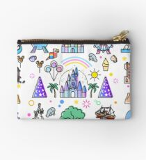 Happiest Place on Earth Collection. It's a Small World, Haunted Mansion, Princess Castle, Manatee, Ferris Wheel Theme Park. Zipper Pouch