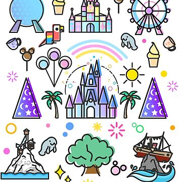 Happiest Place on Earth Collection. It's a Small World, Haunted Mansion, Princess Castle, Manatee, Ferris Wheel Theme Park. by tachadesigns