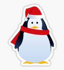 Pegatina Pingüino de Navidad en un sombrero de Santa