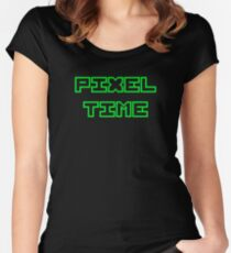 PIXEL TIME in green Women's Fitted Scoop T-Shirt