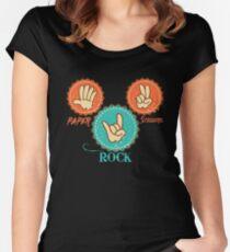 Paper Scissors Rock Cool Design Women's Fitted Scoop T-Shirt