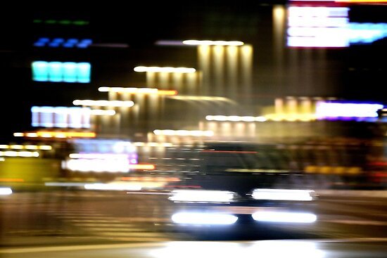 Car in street in urban city lights with distortion effect by edwardolive