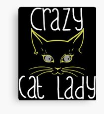 Crazy Cat Lady Funny Cute Fashion Ladies Fit Womens Gift Cat T-Shirts Canvas Print