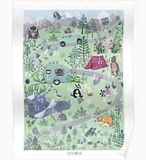 ABC POSTER FOREST CAMPING ANIMALS Poster