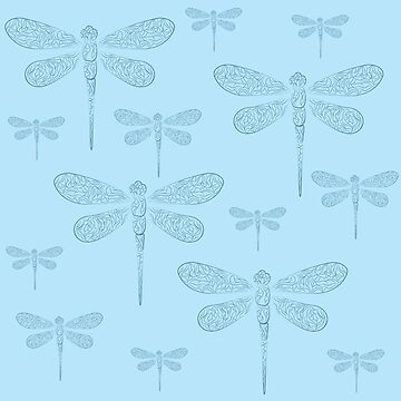 A dragonfly with patterns a contour gentle pattern and a background by saroutlander