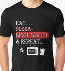 eat sleep binge watch repeat black Unisex T-Shirt