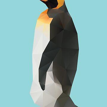 King Penguin Polygon art by polymolystudio