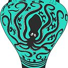 Ancient Greek Amphora with Octopus - Turquoise by Cassidy Capri