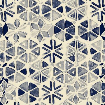 Hand Painted Triangle & Honeycomb Ink Pattern - indigo & cream von micklyn
