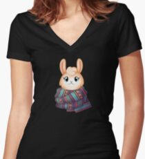 Warm and Cosy Llama Women's Fitted V-Neck T-Shirt