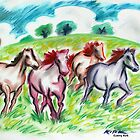 'Horses in a Field'  by Jerry Kirk